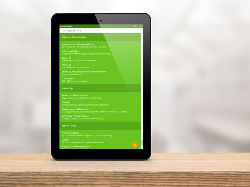 Foto: Screenshot der Nahrungsergänzung in der Foodfibel App