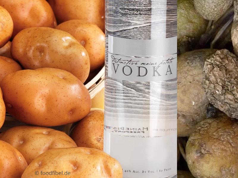 Bildmontage: Kartoffeln, frisch, faulig, dazwischen eine Wodkaflasche. © foodfibel.de, eiegens Werk aus CC Creative Commons.