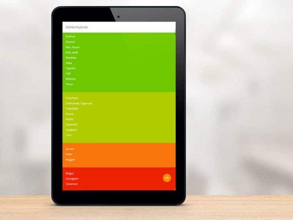 Lebensmittel Farbampel der Foodfibel App auf einem Tablet-Computer. © foodfibel.de, eigenes Werk