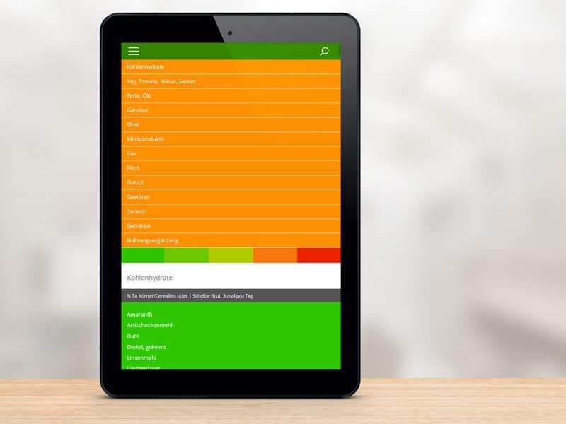 Startseite der Foodfibel App auf einem Tablet-Computer. © foodfibel.de, eigenes Werk