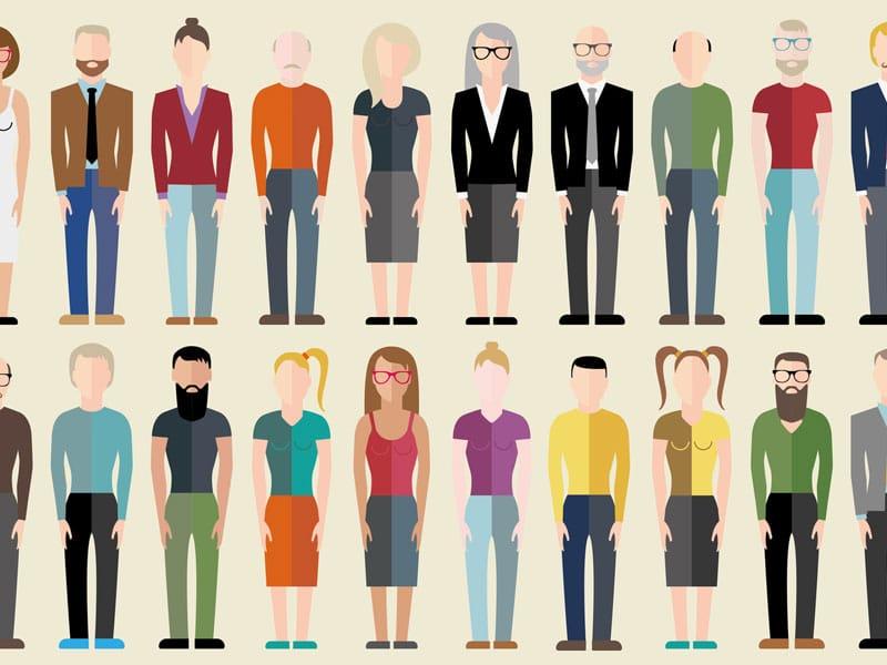 Schemagrafik unterschiedliche Menschentypen. Twenty Caucasian neutral flat business people, © thaibert, Fotolia #114078722.