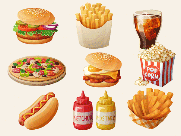 Fastfood Burger, Pommes, Cola, Pizza, Hotdog, Ketchup, Popcorn.© Anna Zasorina 123rf.com.