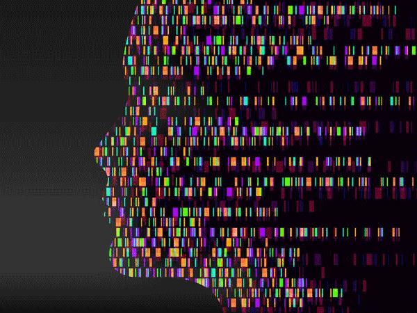 Matrix von farbigen Gensequnzen bilden sein Gesicht. © Olena Yepifanova 123rf.com.