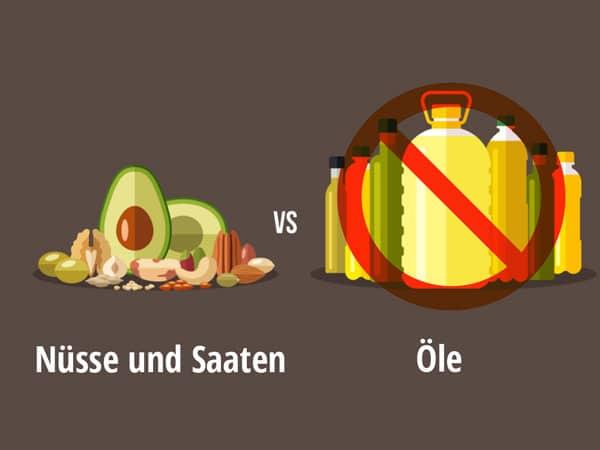 Pflanzenöl im Vergleich zu fettfreien Vollnahrungsmitteln. Von © Colorcocktail , Shutterstock.com.